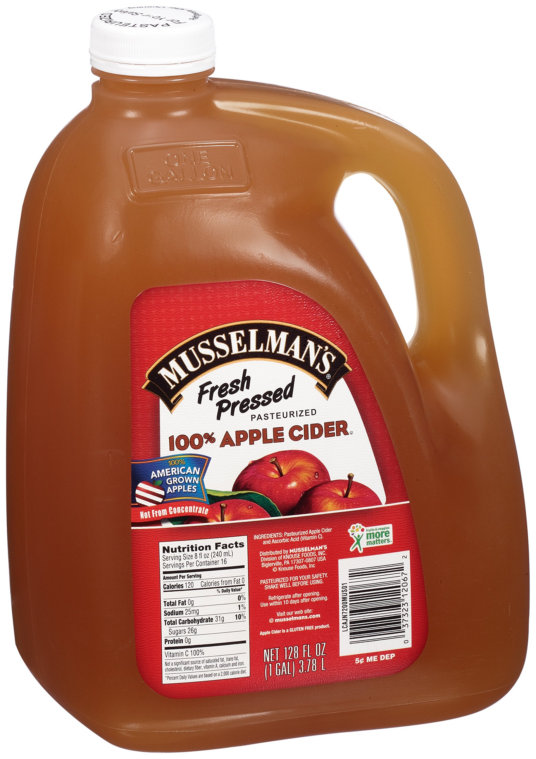 Musselman's 100% Fresh Pressed Apple Cider, 128 Fluid Ounce (Pack of 4) by Musselmans
