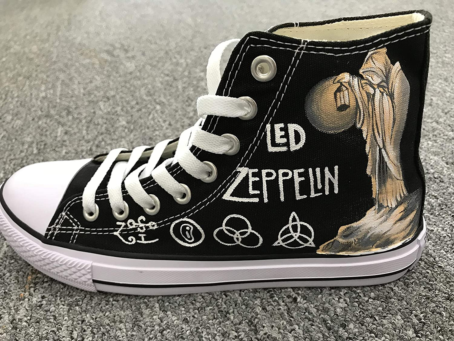 28ec30f98a9 Amazon.com  Men Women Sneakers Led Zeppelin Jimmy Page Hand Painted Shoes  Custom Sneakers Free Shipping  Handmade