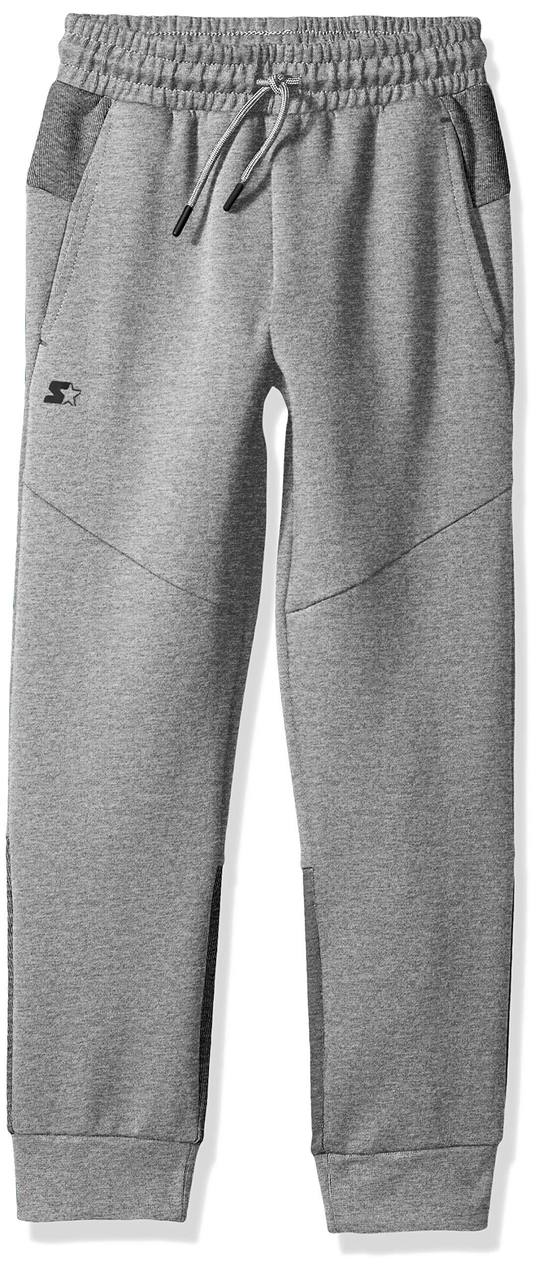 Starter Boys' Double Knit Colorblocked Jogger Sweatpants, Amazon Exclusive, Vapor Grey Heather, L