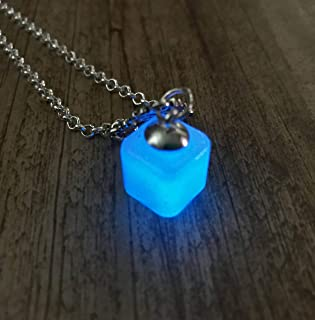 product image for Tesseract Inspired Blue Glow In The Dark Cube Pendant Necklace on Silvertone Rolo Chain