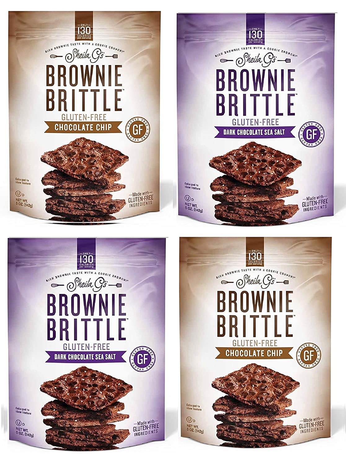 Brownie Brittle, Gluten-Free Variety Pack, 5 Oz bags (Pack of 4)