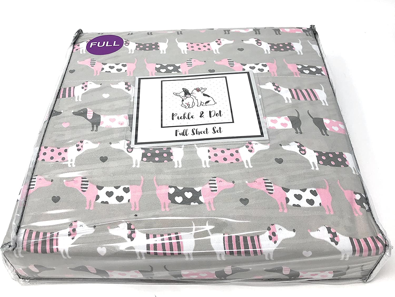 Mila /& Molly Pink and Grey Dachshund Sheet Set with Doxie aka Wiener Dogs Full of Hearts Twin