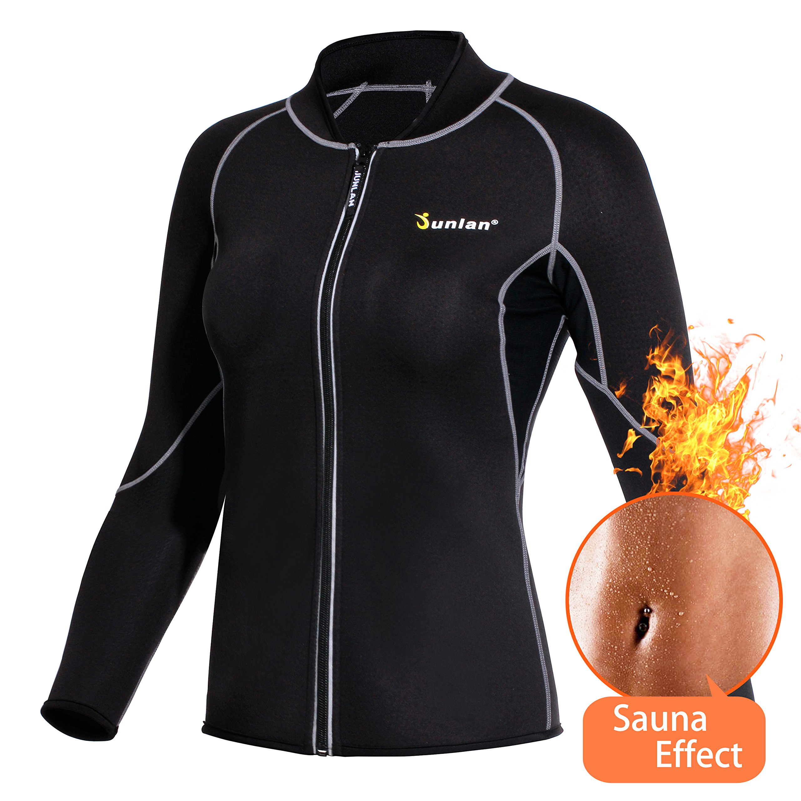 Junlan Neoprene Long Sleeves Sauna Shirt Top Weight Loss Hot Slimming Suit Workout Exercise Zipper Workout Shirt (Black Sauna Suit, S)
