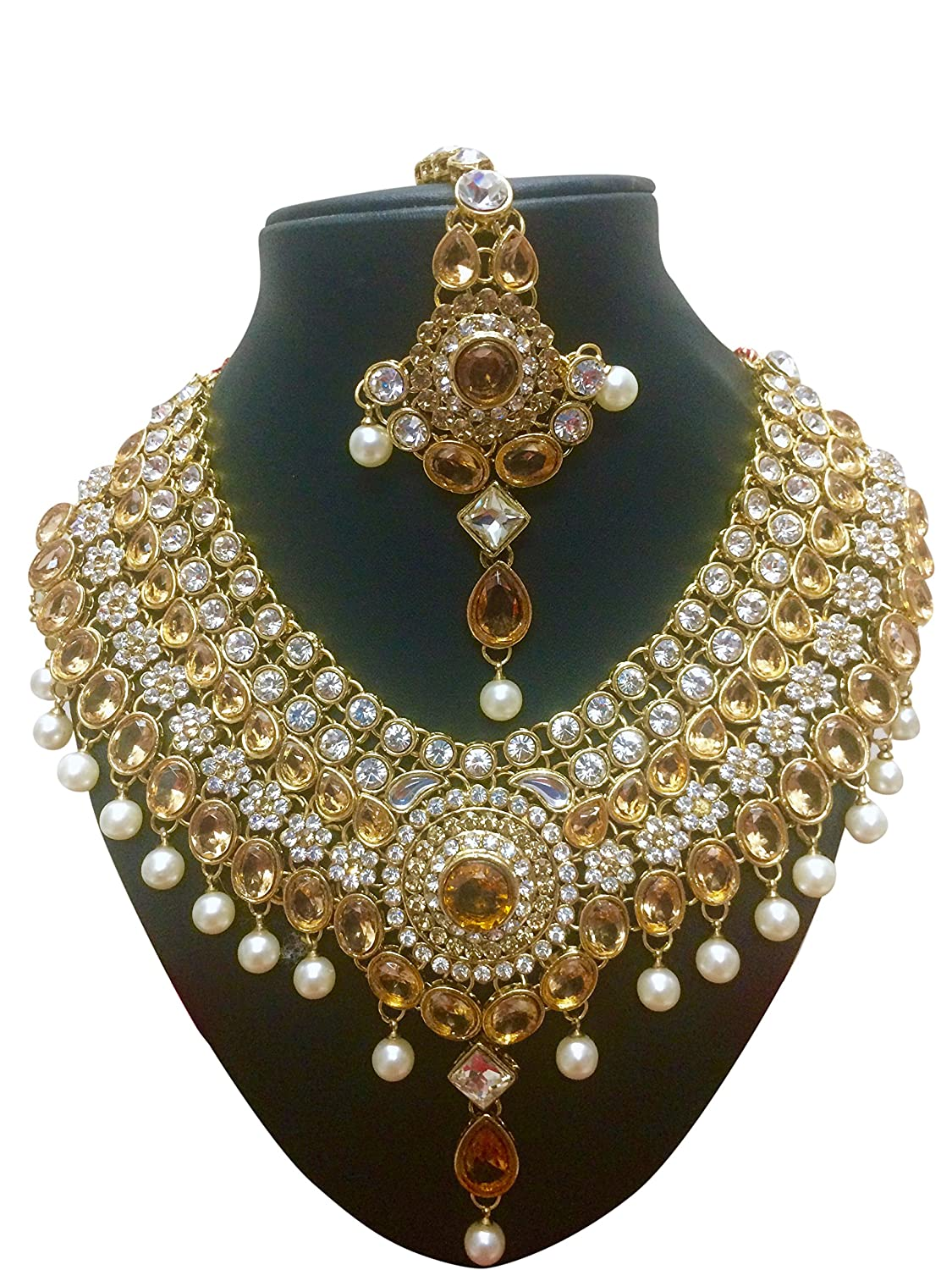 In Indian Bollywood Jewelry Necklace Set Bollywood Ethnic Gold Plated Traditional Exquisite Workmanship