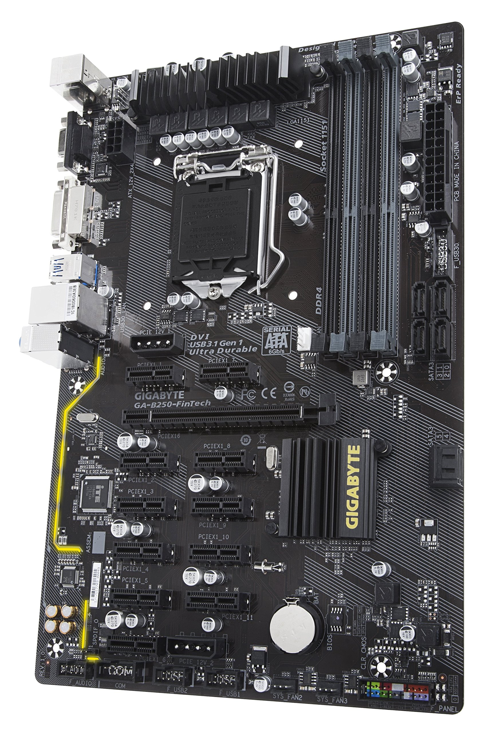 Gigabyte GA-B250-FinTech LGA1151 Intel ATX Cryptocurrency Mining 12PCIe 3.0 DDR4 Motherboard by Gigabyte (Image #1)