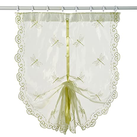 Best Dragonfly Embroidery Polyester Tie Up Window Shade Balcony Window  Drape Panel Scarf Valances Curtain