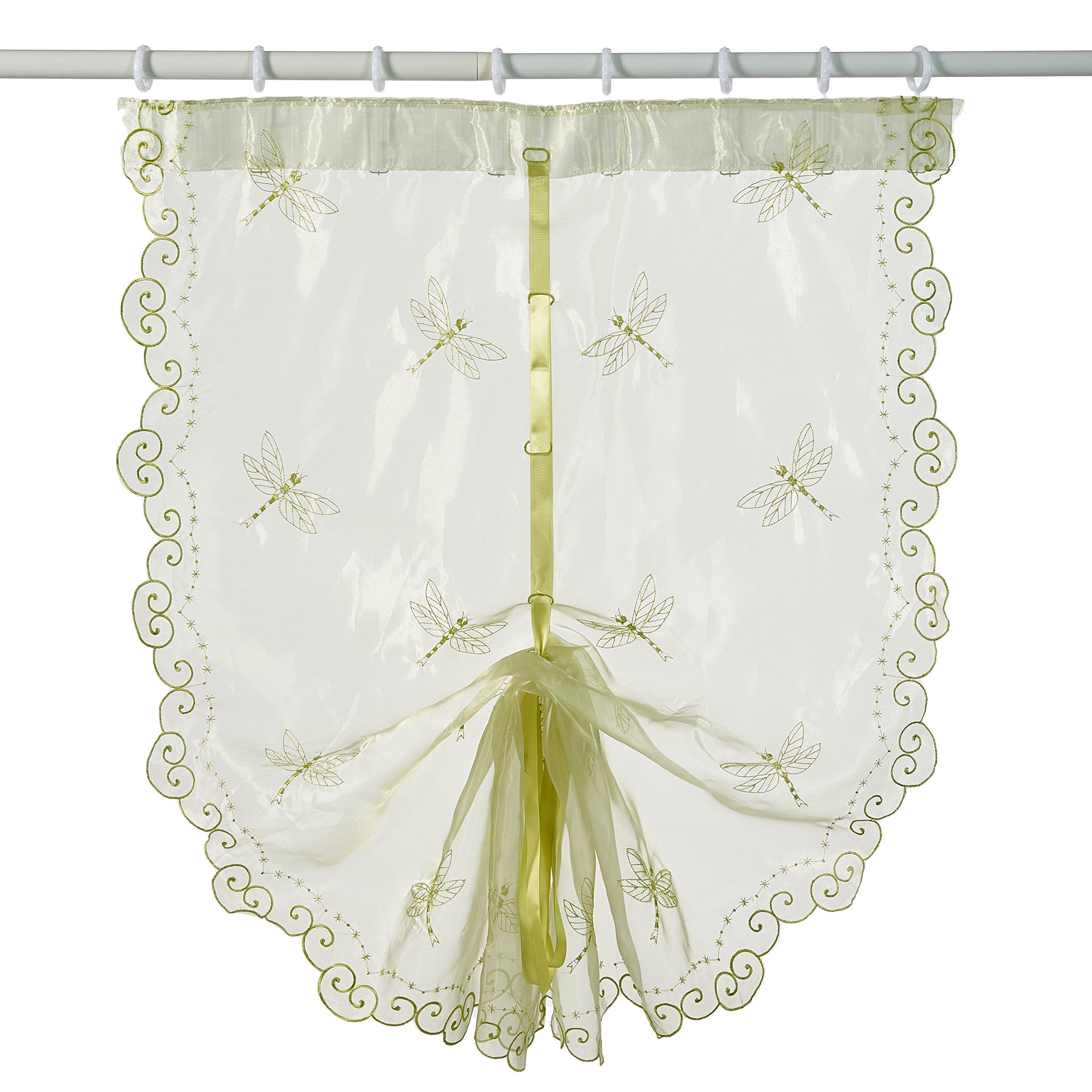 Best Dragonfly Embroidery Polyester Tie-Up Window Shade Balcony Window Drape Panel Scarf Valances Curtain Light Green 33''W x 57''H