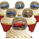Cakeshop 12 x Vorgeschnittene und Essbare Disney Pixar Cars Kuchen Topper (Tortenaufleger, Bedruckte Oblaten, Oblatenaufleger)