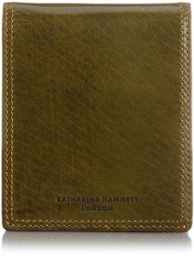 dbf50d7669a1 Amazon   [キャサリンハムネットロンドン] 国産アンティーク調レザー二つ折り財布 490-56002 カーキ   財布