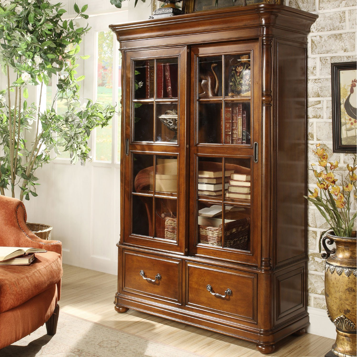 Amazon.com: Riverside Furniture Bristol Court Sliding Door Bookcase In  Cognac Cherry: Kitchen U0026 Dining