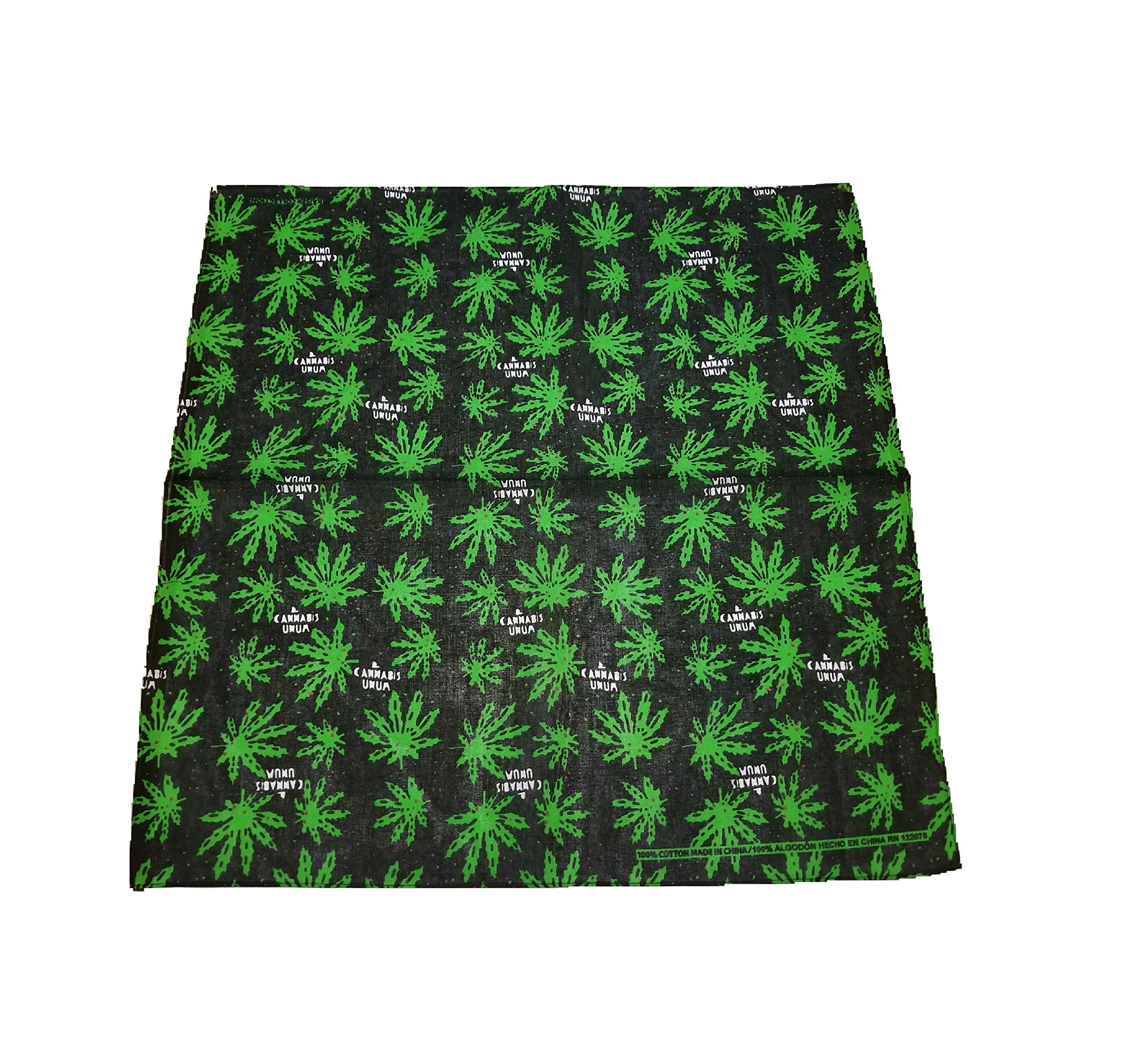 Weed Leaf Pot Cannabis Marijuana Bandana Biker DURAG Head WRAP Scarf Large 22 X 22 Green, Black