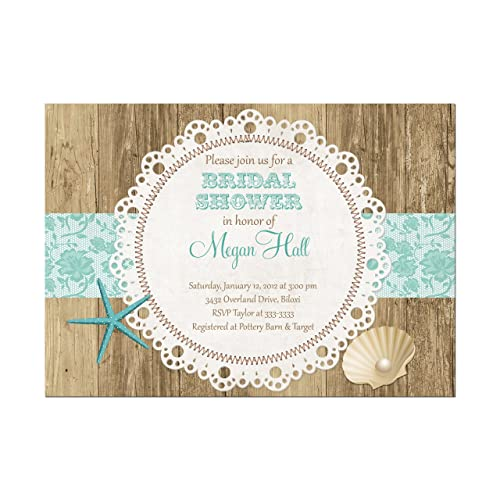 beach bridal shower invitations rustic beach and shell bridal shower invitations in teal base