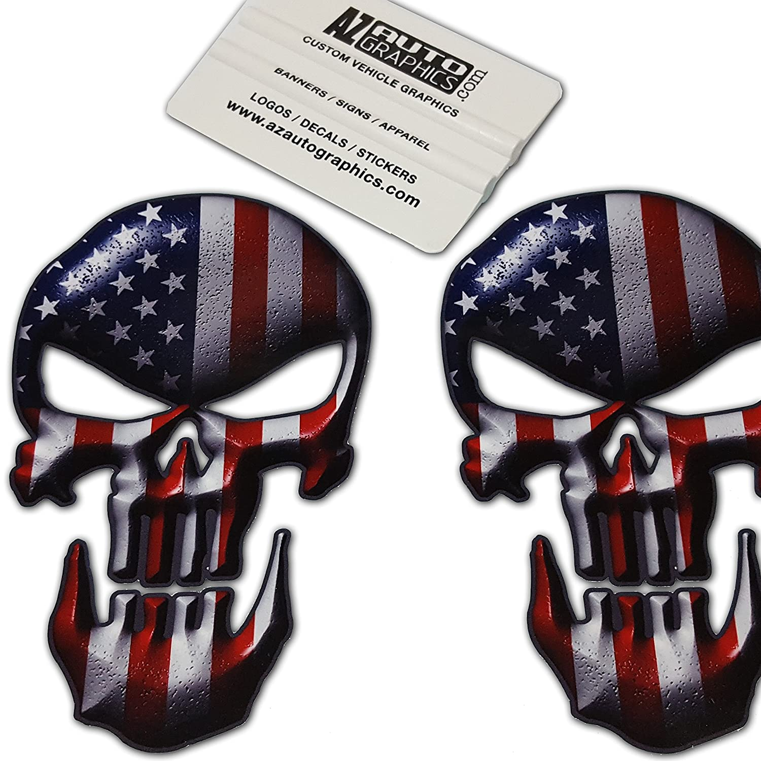 Amazon com skull american flag vinyl decal stickers punisher car truck sniper marines army navy military jeep graphic 4 x 6 5 8 original automotive