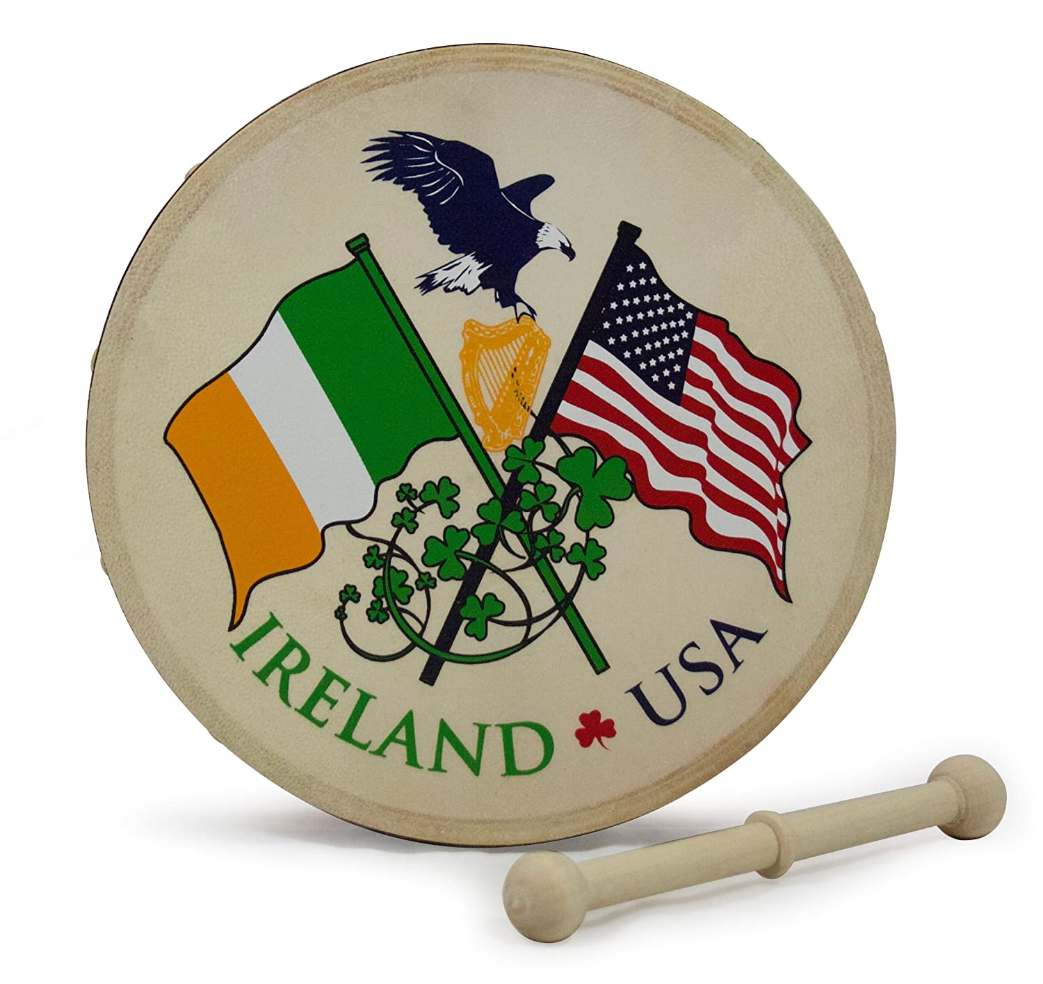 Waltons 8 Inch USA IRELAND Bodhrán - Handcrafted Irish Instrument - Crisp & Musical Tone - Hardwood Beater Included w/Purchase