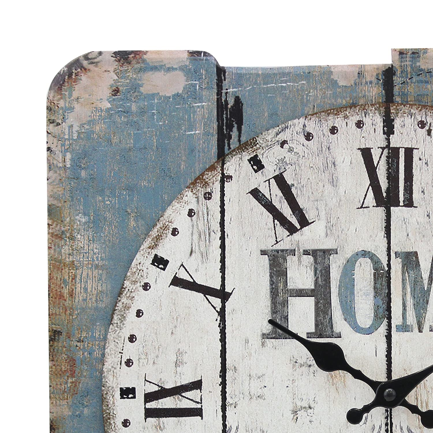 Stonebriar Square 15 Rustic Farmhouse Worn Blue and White Roman Numeral Wall Clock Shabby Chic and DIY Home Decor Accents for the Kitchen and Bedroom Living Room Battery Operated CKK Home Décor SB-6158A