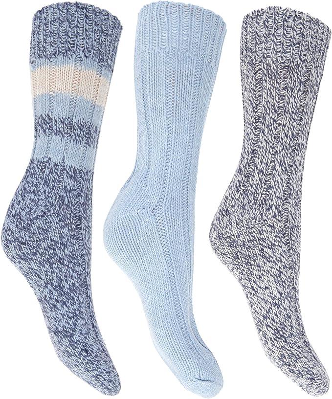 Floso- Calcetines térmicos gruesos con lana (pack de 3) para mujer (37-41) (Azul): Amazon.es: Ropa y accesorios