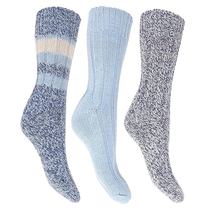 Floso- Calcetines térmicos gruesos con lana (pack de 3) para mujer (37. Pasa ...