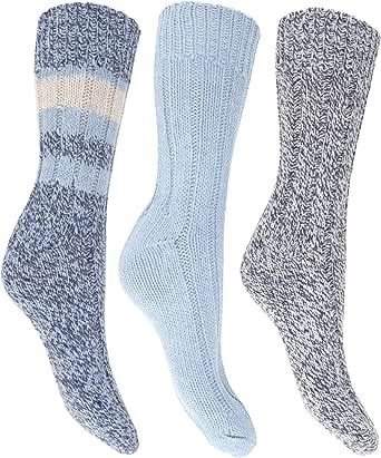 Floso- Calcetines térmicos gruesos con lana (pack de 3) para mujer ...
