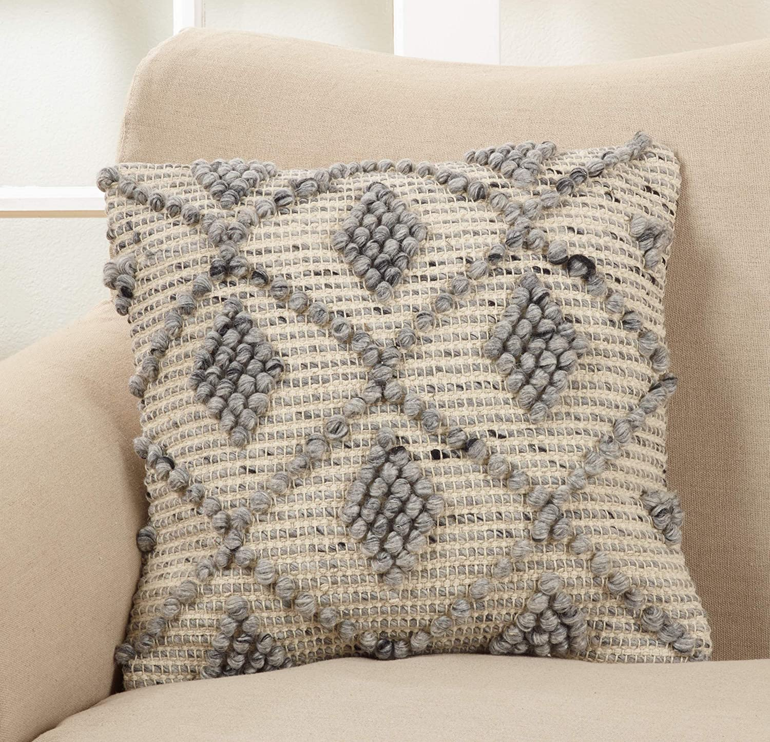 Saro Lifestyle Isaiah Design Wool Blend Throw Pillow With Down Filling And Diamond Weave Pattern 18 Grey Home Kitchen