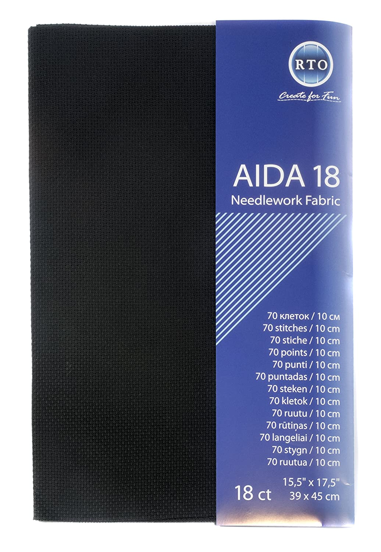 RTO Aida 18 Count Black 39cm x 45cm, 100% Cotton, 4x17x1 cm AIDA18-095