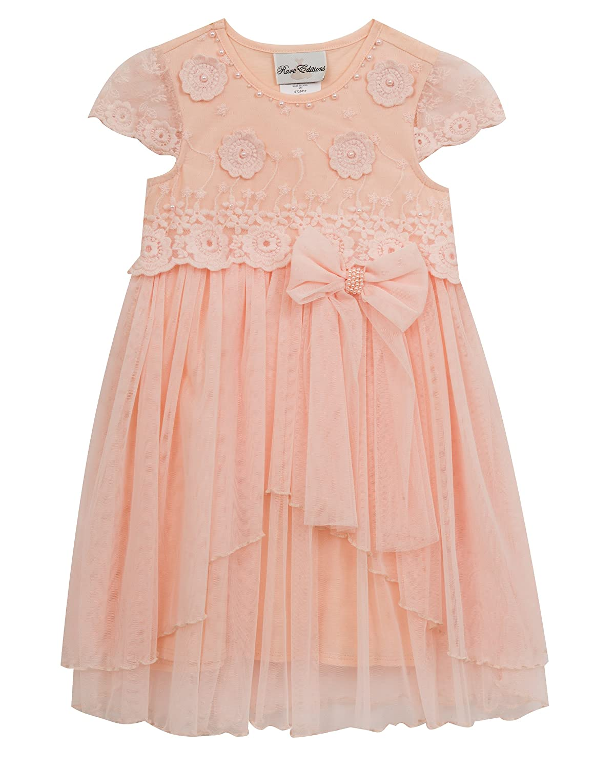 2134fb02fbac2 Amazon.com: Rare Editions Little Girls' Embroidered Party Dress, Blush, 6X:  Clothing