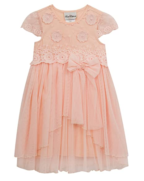 709083f33814 Amazon.com: Rare Editions Little Girls' Embroidered Party Dress, Blush, 6X:  Clothing
