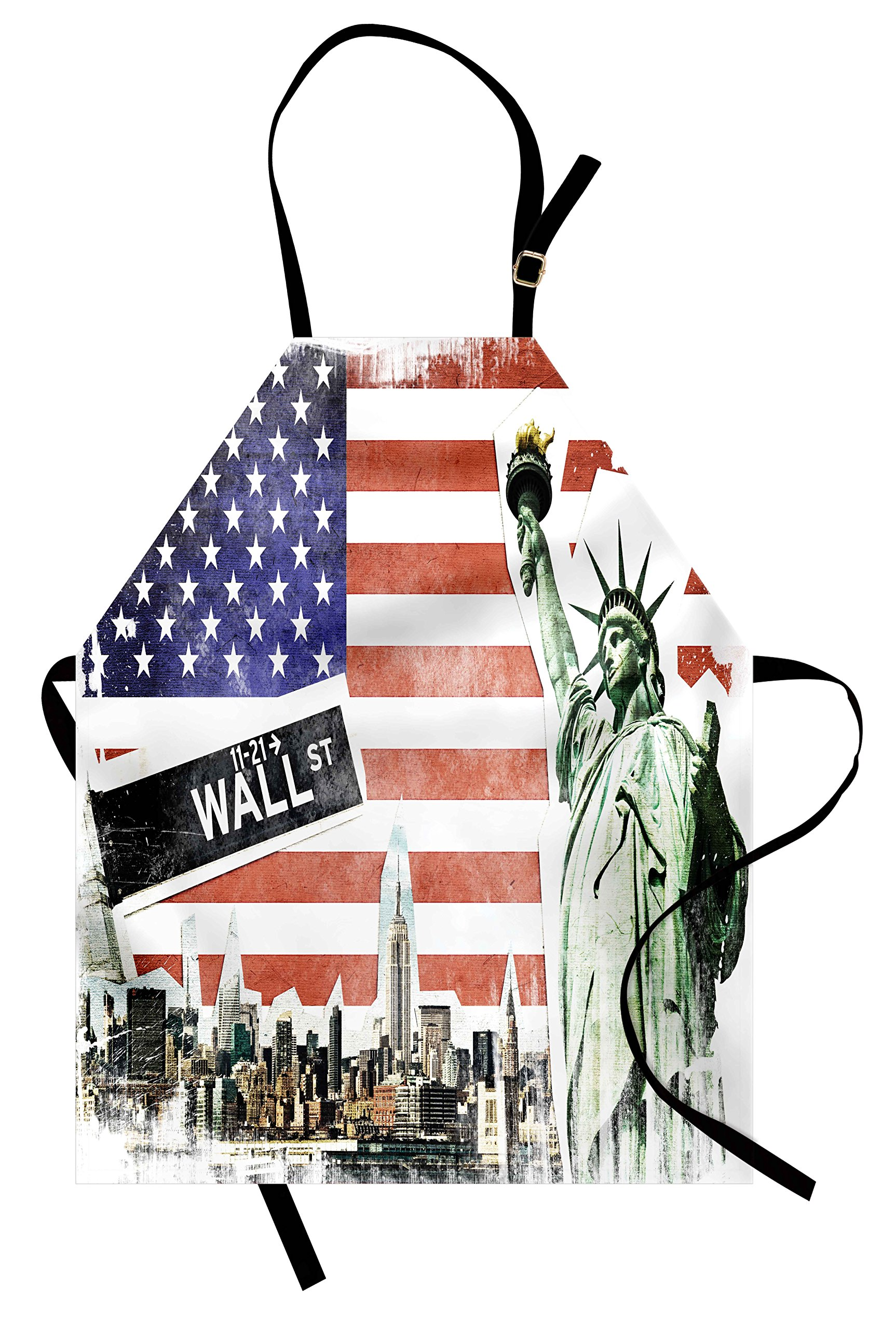 Ambesonne American Flag Apron, NYC Collage with Famous Monuments Wall Street and Manhattan Urban Display, Unisex Kitchen Bib with Adjustable Neck for Cooking Gardening, Adult Size, Blue Red by Ambesonne