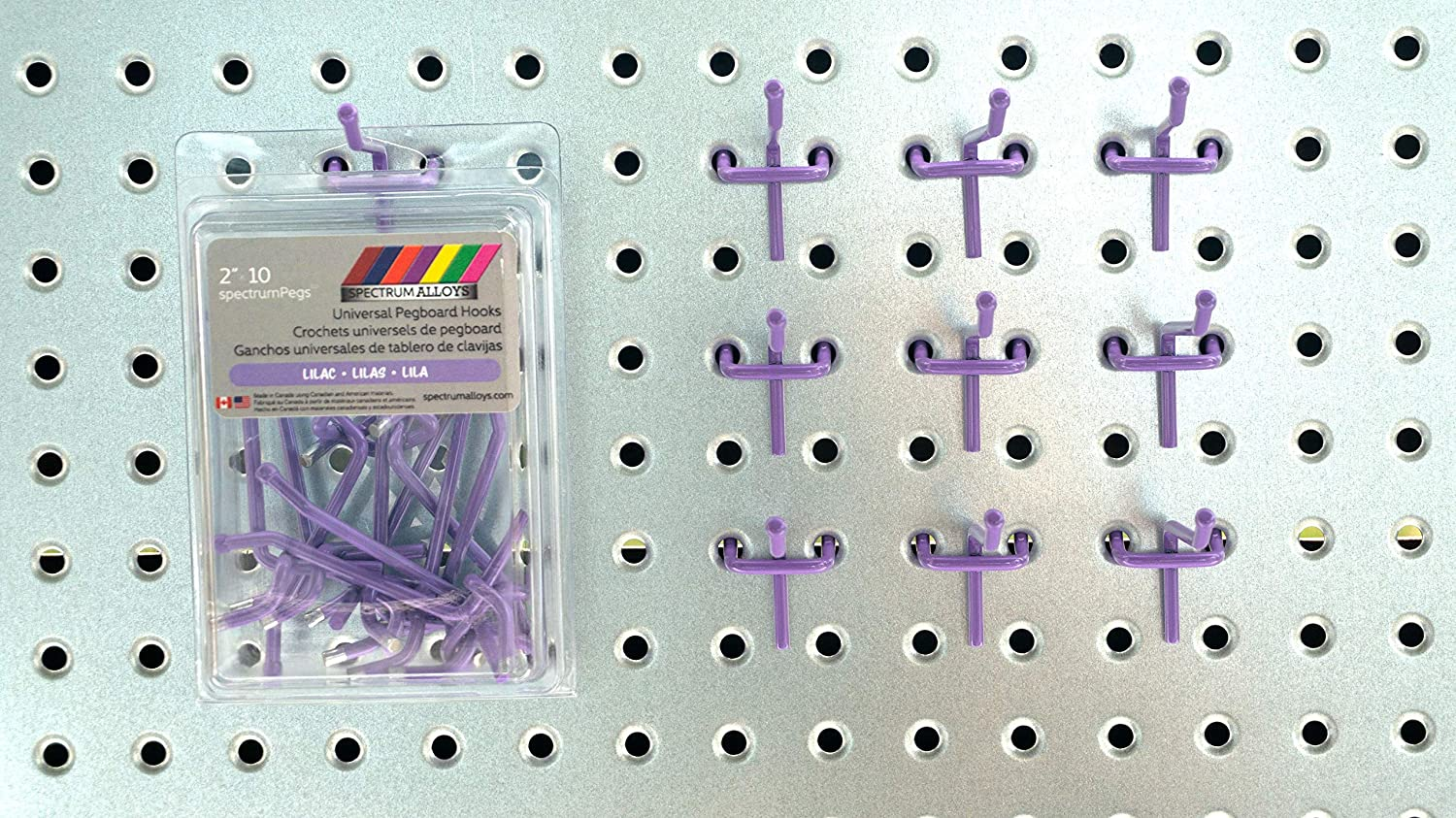 spectrumPegs Universal Light Pink Pegboard Hooks Metal Peg Board Hooks Available in All Colors 2 4 6 peg Hooks in Packs of 10 or 25 2 x 10, Bubblegum Pink