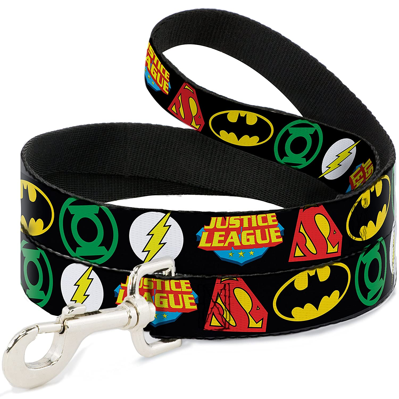 6 Feet Long 1\ Buckle-Down Justice League Superhero Logos Close Up Black  Dog Leash, 6'