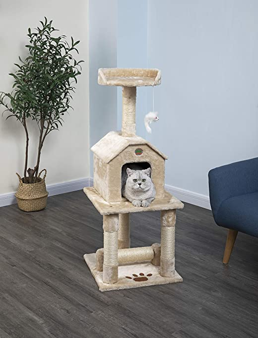 Go Pet Club 45 Tall Beige Cat Scratcher Cottage Scratching Posts Pet Supplies