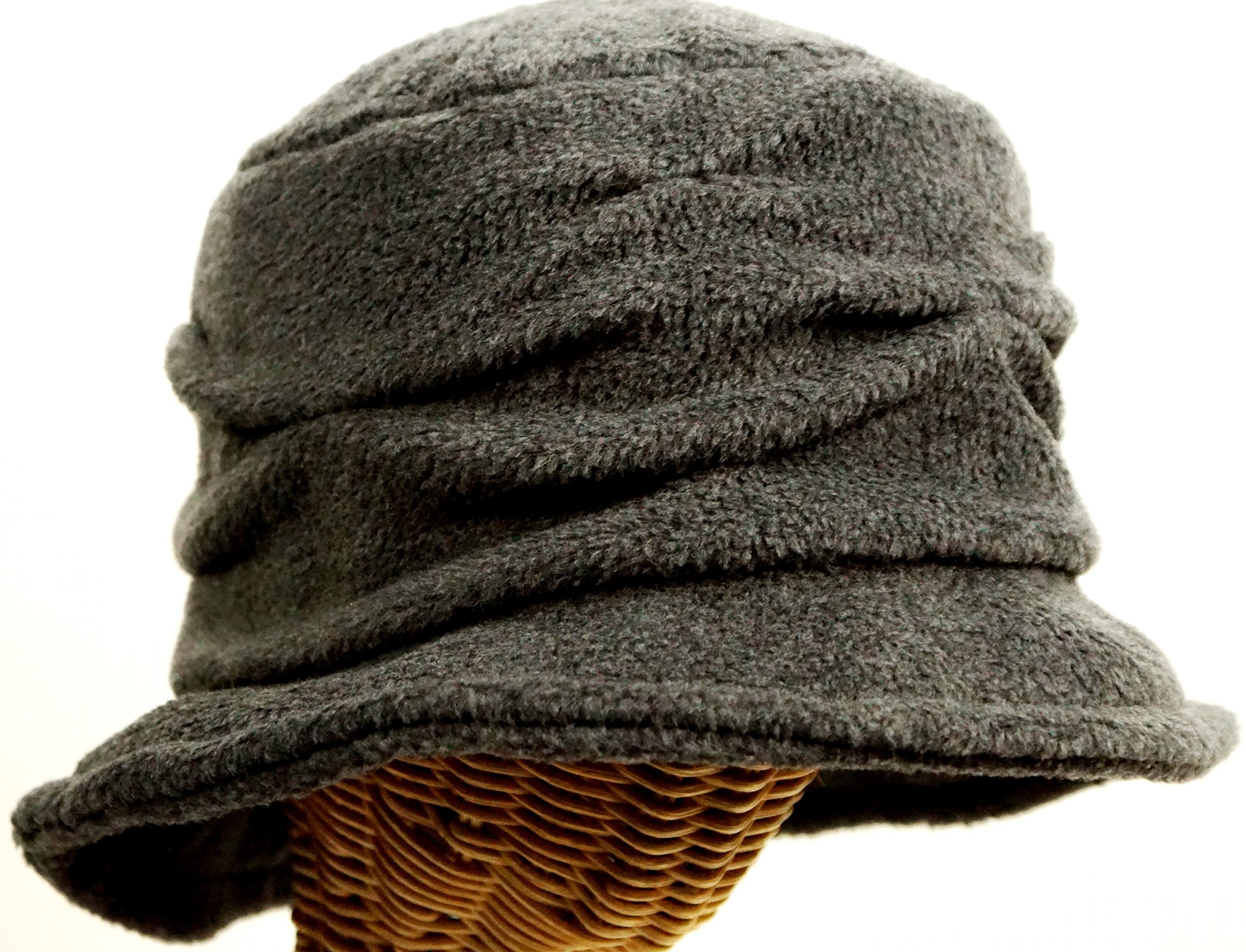 Women's Fleece Pleated Wave Design Cloche -Charcoal