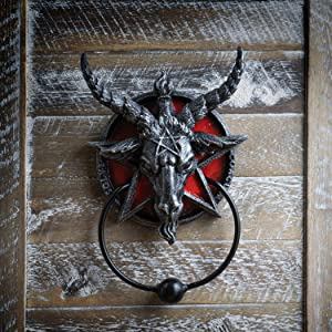 Summit Collection Baphomet Sabbatic Goat Diety Head with Pentagram Door Knocker Satanic Occult Wall Decor 8 inch Tall Metal Hardware