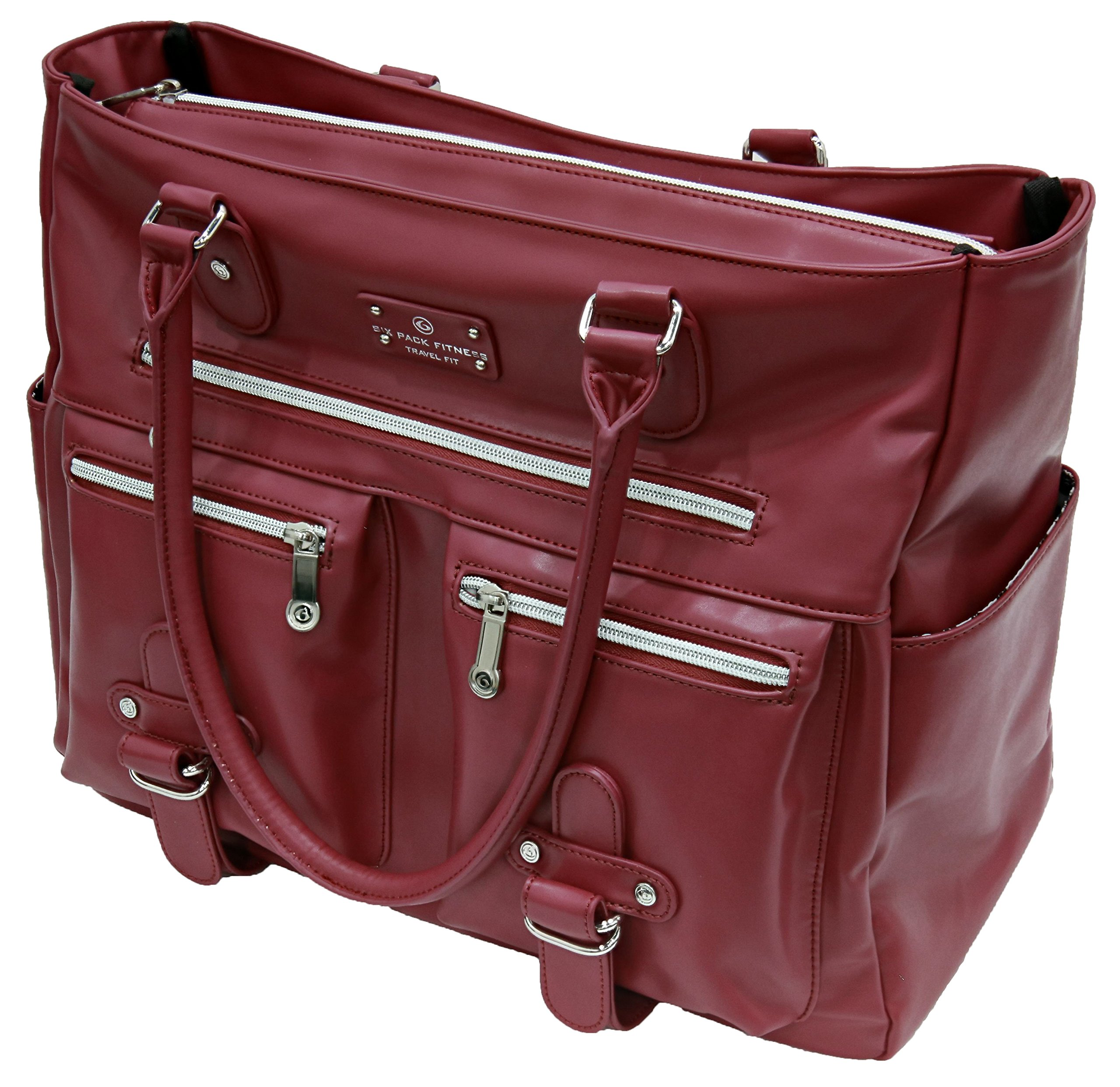 6 Pack Fitness Expert Renee Meal Management Tote Merlot w/Removable Core…