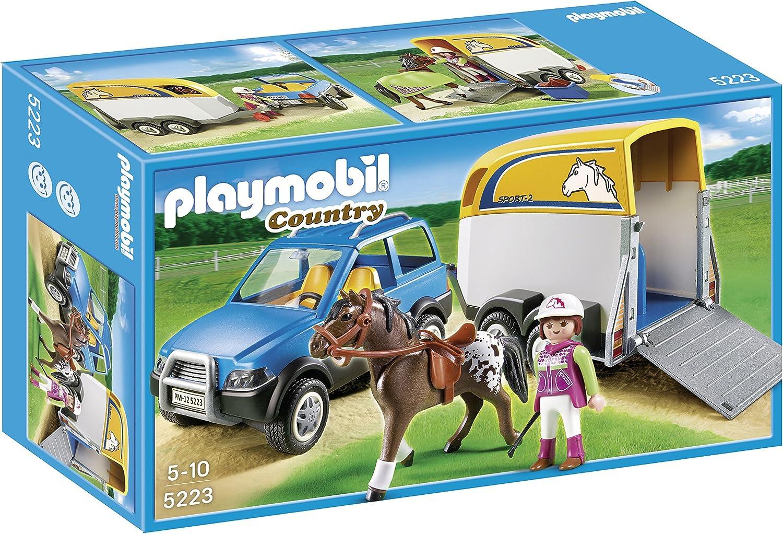 PLAYMOBIL - Vehículo con Remolque para Ponis (5223)