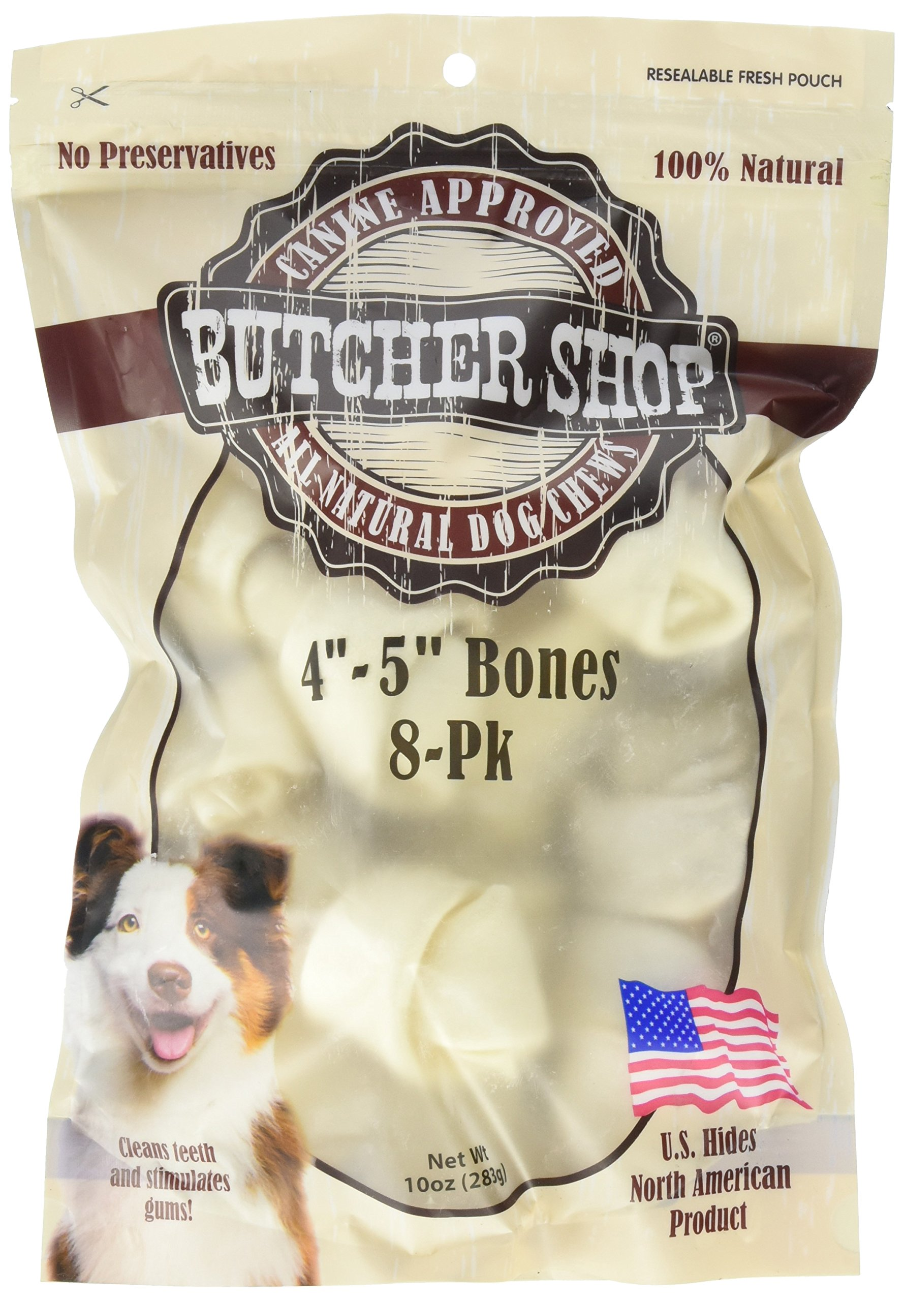 Butcher Shop 13144 4''-5'' Natural Rawhide Bones (8 Pack), Small