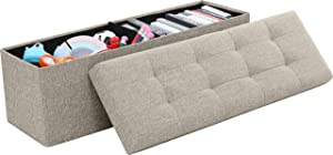 "Ornavo Home Foldable Tufted Linen Large Storage Ottoman Bench Foot Rest Stool/Seat - 15"" x 45"" x 15"" (Beige)"