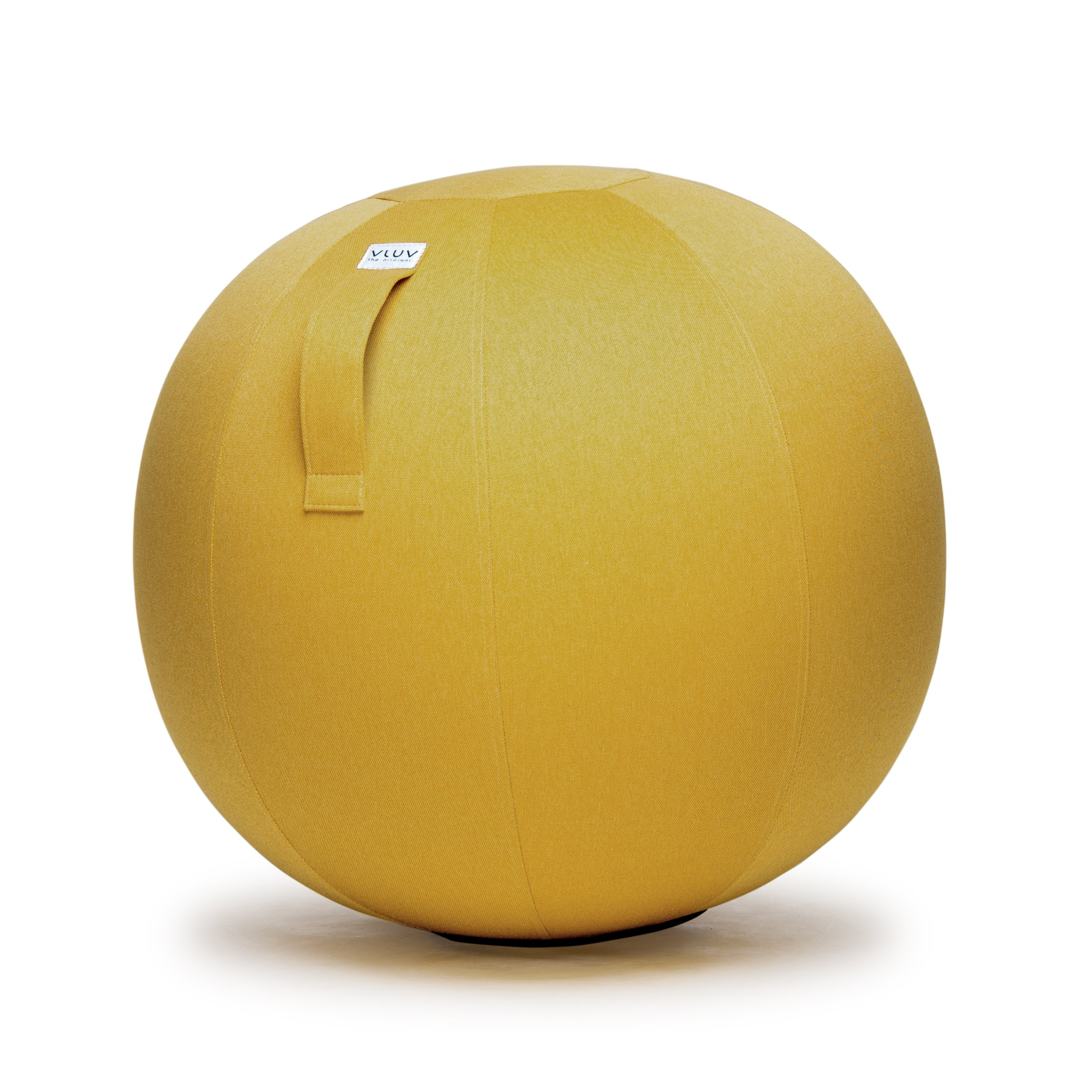VLUV LEIV 29.5'' Premium Quality Self-Standing Sitting Ball with Handle - Home or Office Chair and Exercise Ball for Yoga, Stretching, or Gym Stone Colored Canvas Fabric (Mustard Colored, 25.6'') by VLUV