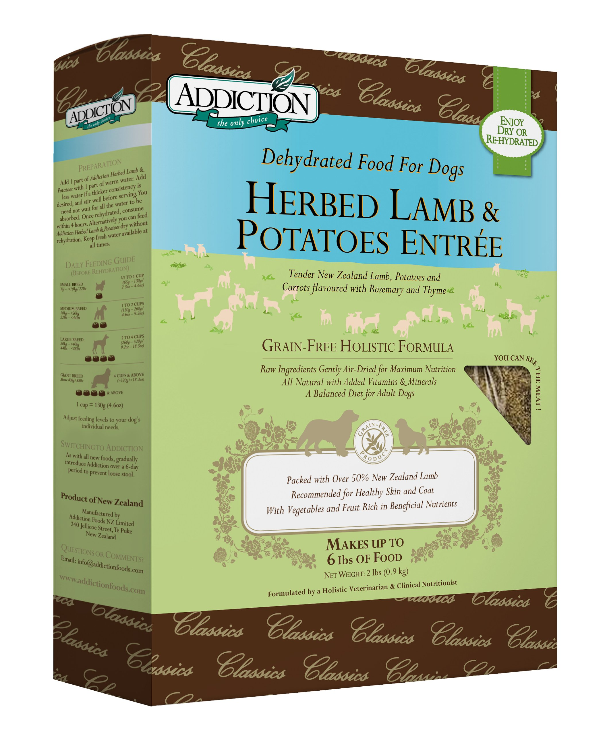 Addiction Herbed Lamb & Potatoes Grain Free Dehydrated Dog Food, 2 Lb. by Addiction Pet Foods