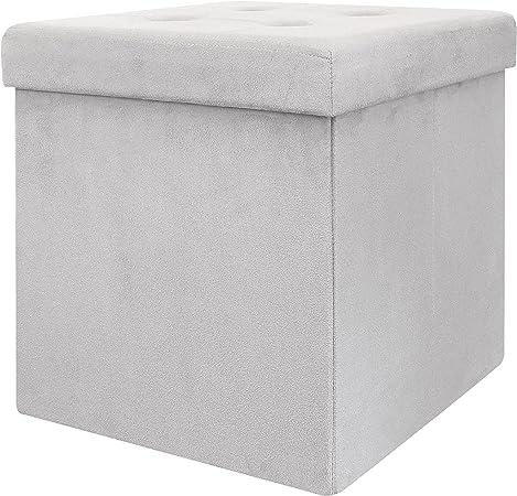 THE HOME DECO FACTORY CMHD3417 Caja-PUF Plegable, poliéster, Gris Claro, 37,50 x 37,50 x 37,50 cm: Amazon.es: Hogar