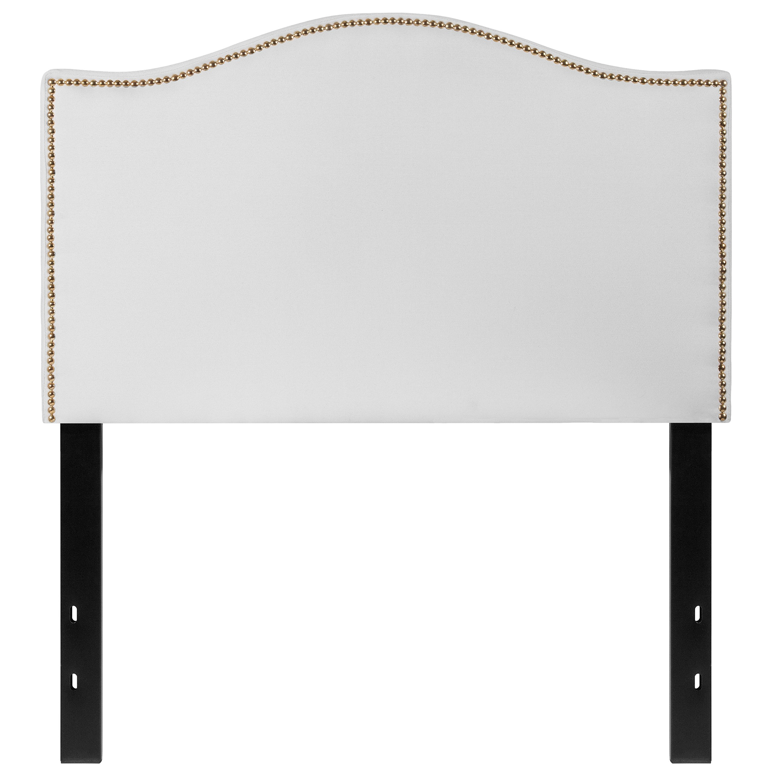 Flash Furniture Lexington Upholstered Twin Size Headboard with Decorative Nail Trim in White Fabric - HG-HB1707-T-W-GG