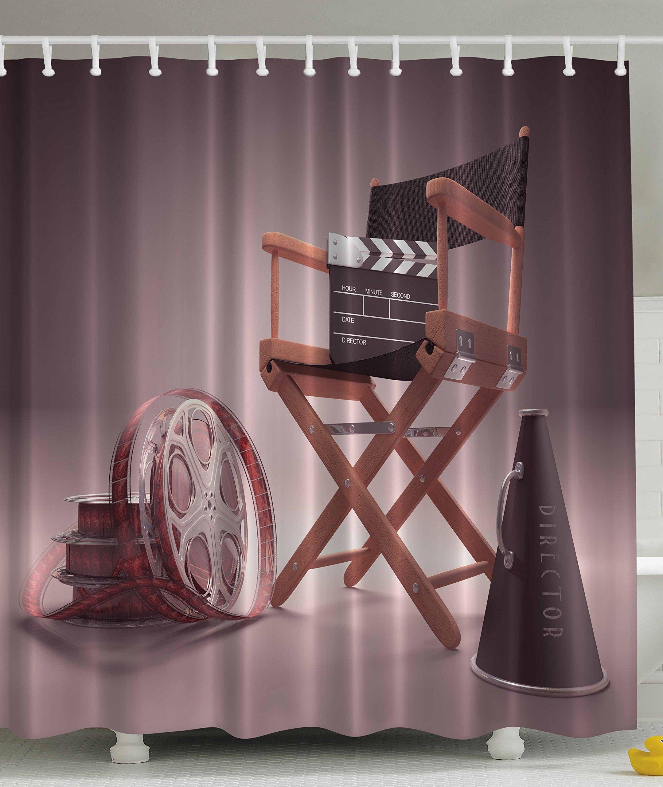 Ambesonne Directors Chair Seat Movie Lover Film Set Studios Strip Ribbon Storyboard Render Art Digital Print Polyester Fabric Shower Curtain - Aubergine Purple Brown
