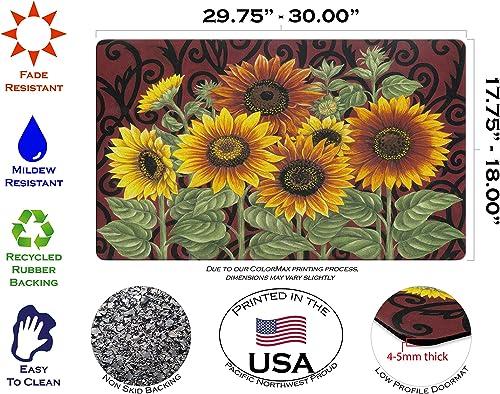 Toland Home Garden Sunflower Medley 18 x 30 Inch Decorative Floor Mat Fall Autumn Flower Seasonal Doormat