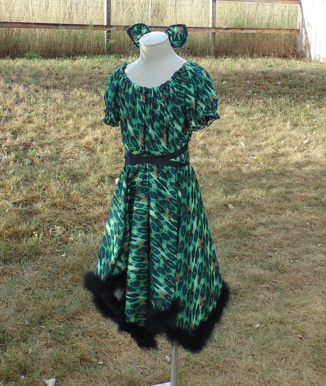 Teen Girls 10-14 Green Leopard Dress Trimmed in black Marabou with Matching Ear Barrettes