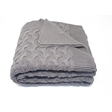 Kuprum Cotton Throw Blanket - Turkish Blanket (100% Cotton) - Throw Blanket for Couch Sofa Bed - 51 x 67 Inch - Grey