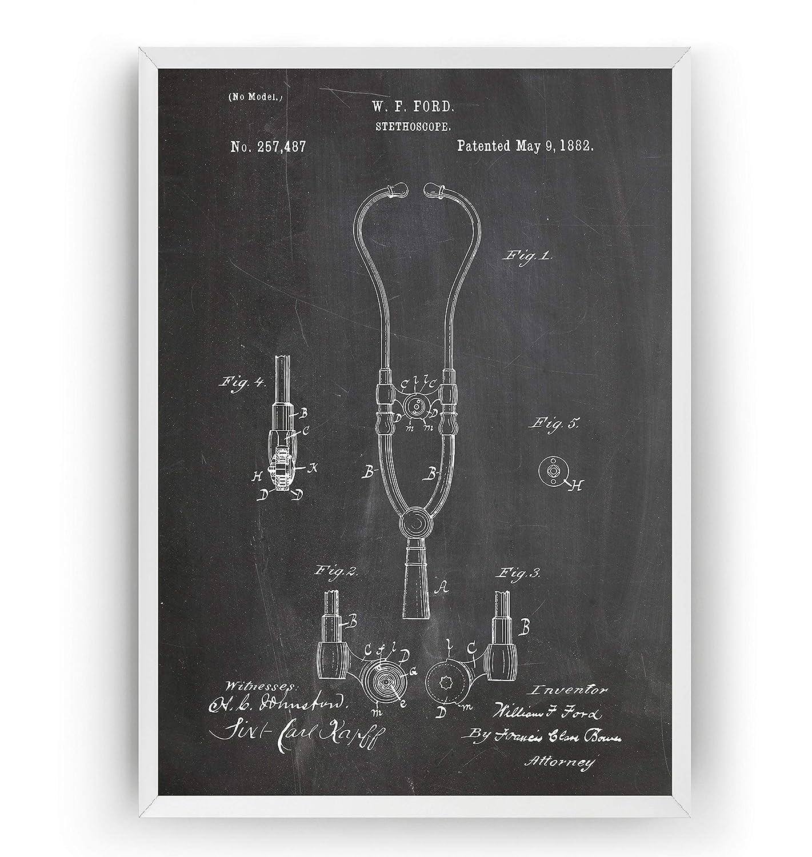 Estetoscopio 1882 Poster de Patente - Patent Póster Con Diseños Patentes Decoracion de Hogar Inventos Carteles Prints Wall Art Posters Regalos Decor Blueprint - Marco No Incluido