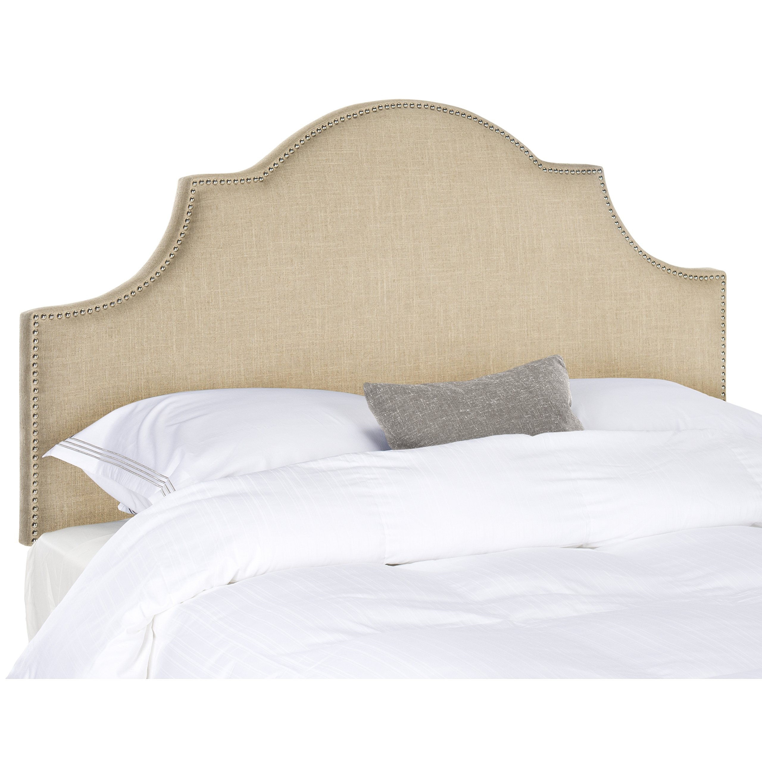 Safavieh Hallmar Hemp Linen Upholstered Arched Headboard - Silver Nailhead (King) by Safavieh (Image #1)