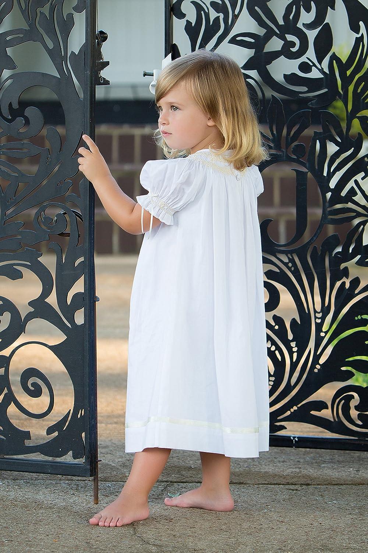 c6d64ca6130 Amazon.com  Strasburg Children Little Girls Margaret Toddler Smocked Easter  Dress Flower Girls White  Clothing