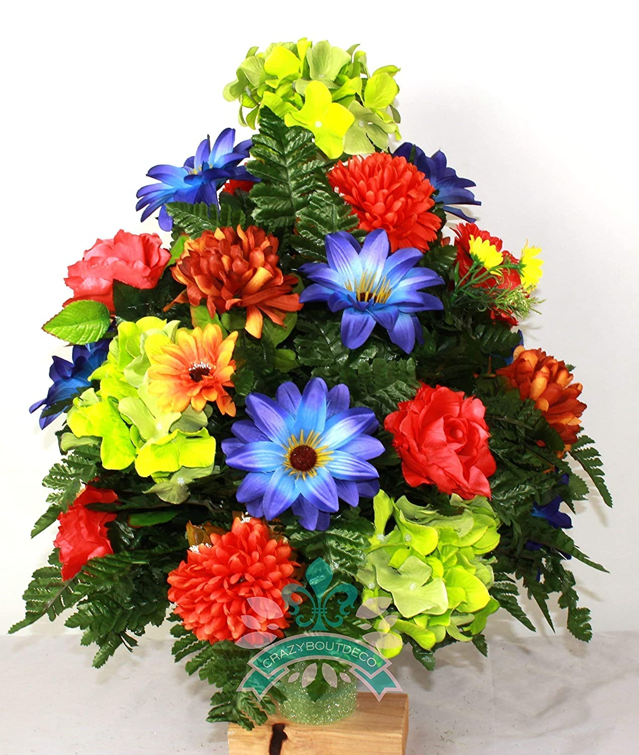 Beautiful XL Fall Mixture Cemetery Vase Arrangement for 3 inch vase