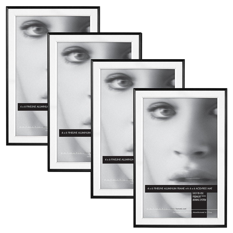 Amazon.com: Framatic Fineline 4x6 Inch Aluminum Frame (4pk), Black ...