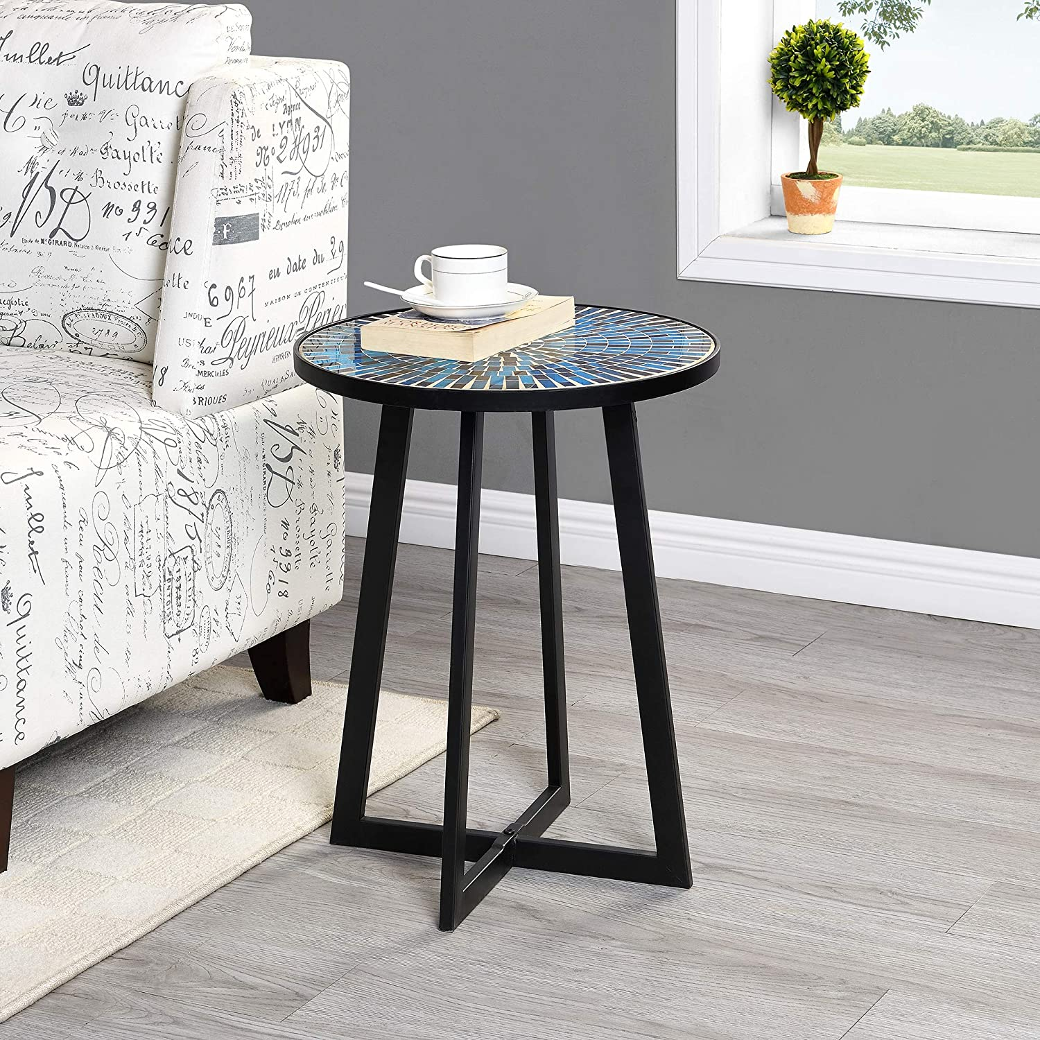 FirsTime & Co. Oasis Mosaic Outdoor Table, American Crafted, Blue, 16 x 16 x 22.5 ,, 70161